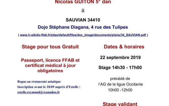 Dimanche 22 septembre 2019 : A.G. Occitanie et stage pour tous à Sauvian (34 410)