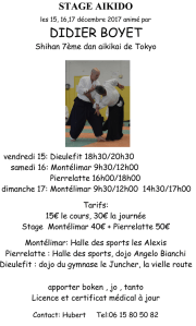 [:fr]Stage - 15 Décembre '17 - Dieulefit[:en]Stage - December 15th '17 - Dieulefit[:] @ Gymnase JUNCHER