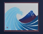 Hokusai Great Wave and Red Fuji