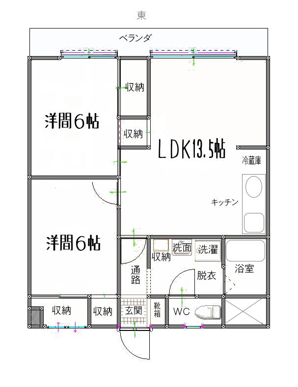 賃貸マンション 2LDK 現空 最上階×大きなシンク×大きな靴箱×ハンモック  松山市生石町