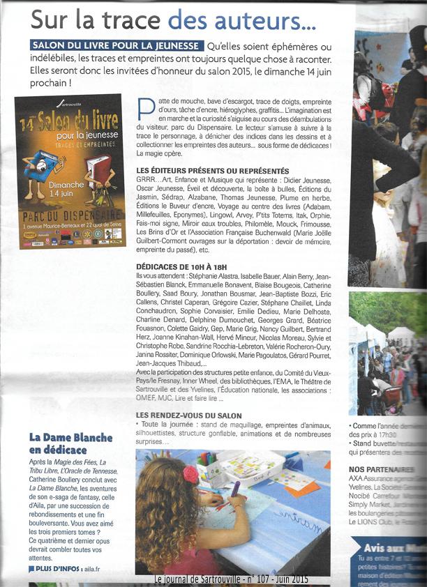 La page à propos du Salon du livre de Sartrouville 2015 avec le paragraphe sur La Dame Blanche de Catherine Boullery