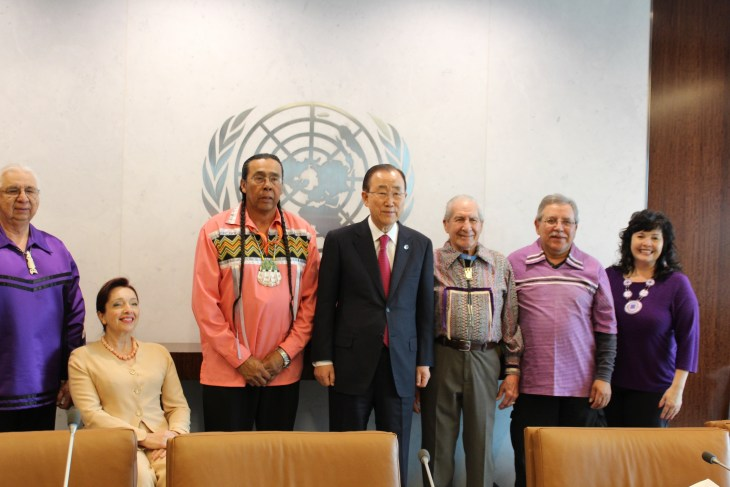 Secretary General Ban Ki moon with the Haudenosaunee