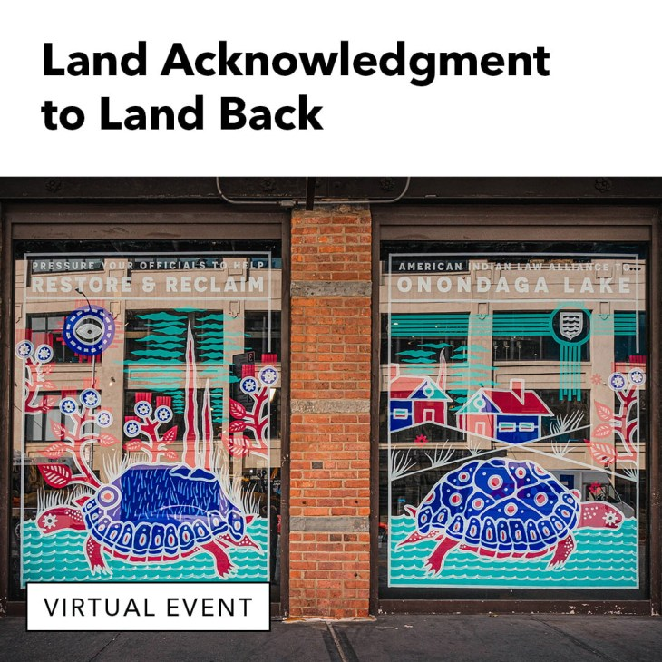 The store windows of Patagonia NYC painted to support Onondaga Lake