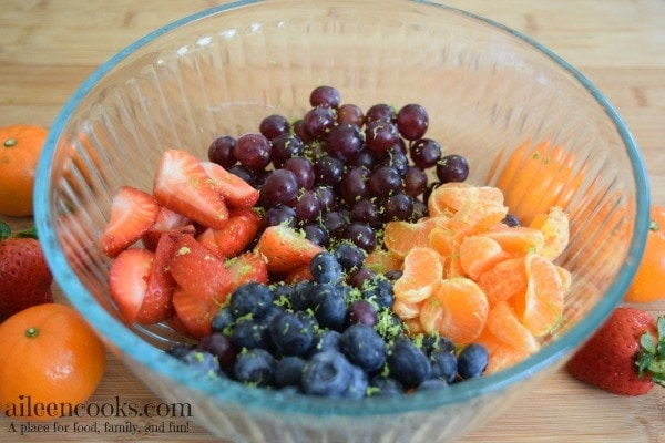 Honey Lime Fruit Salad made with all fresh fruit and tossed with a delicious and light honey lime dressing | http://aileencooks.com