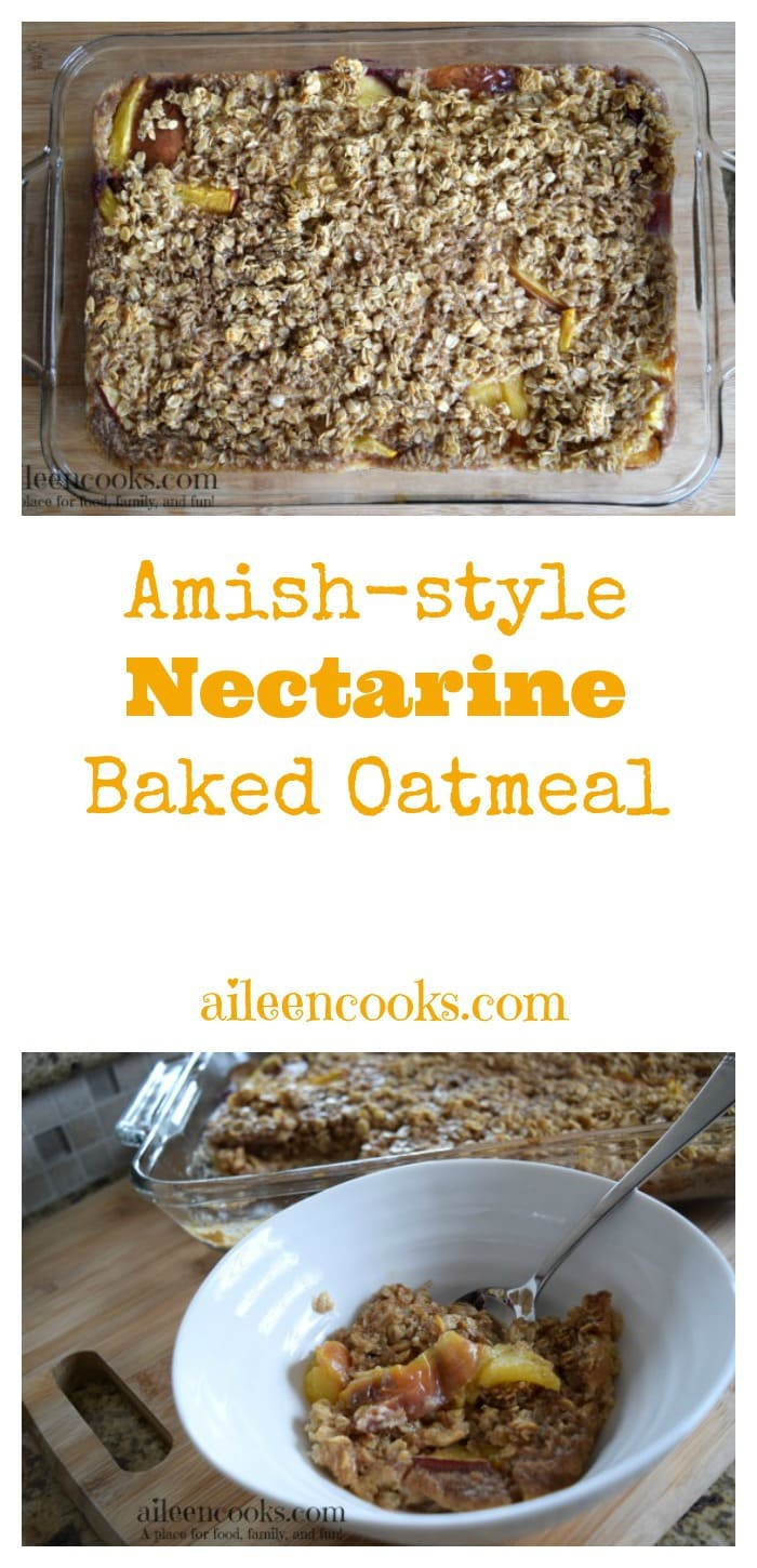 This Amish-Style Nectarine Baked Oatmeal is a frugal and filling breakfast made with rolled oats, nectarines, eggs, milk, and spices. You can prep it the night before for an easy breakfast or prepare it as a freezer meal.