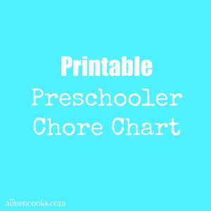 FREE Printable Chore Chart for Preschoolers (4-5 year olds) from https://aileencooks.com