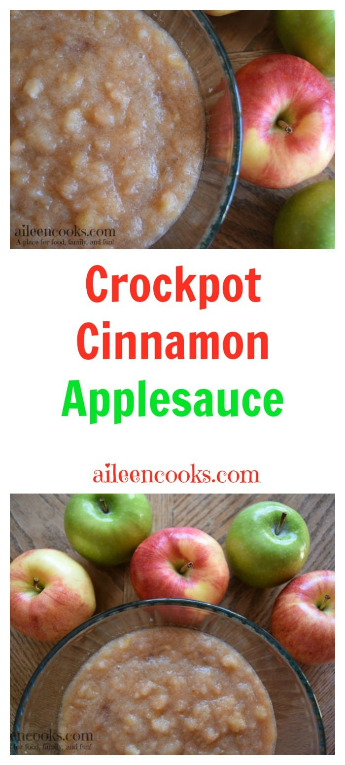Crockpot Cinnamon Applesauce is the perfect apple recipe for fall. aileencooks.com