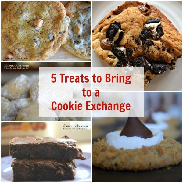 5 treats to bring to a cookie exchange. The perfect cookies and cookie bars for your next cookie exchange or holiday party. Recipes from aileencooks.com.