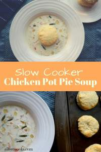 This warm and hearty slow cookercreamy chicken pot pie soup simmers all day in your slow cooker. Top it with an easy homemade biscuit and have the perfect meal!