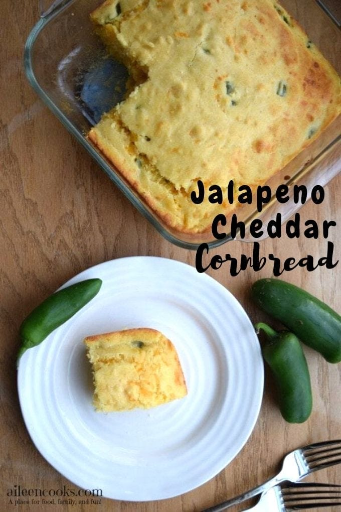 Make this crowd pleasing jalapeno cheddar cornbread tonight! It's perfectly sweet and spicy and is amazing when paired with a bowl of warm chili!
