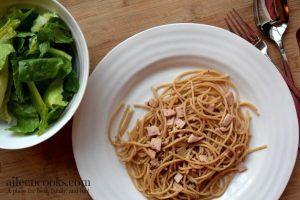 Spaghetti Aglio e Olio with Ham