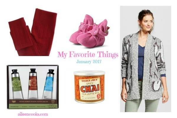 My Favorite Things: Fleece Lined Leggings, Zutanos Baby Booties, Chunky Sweaters, Hand Cream, & Spicy Chai! Post from aileencooks.com.