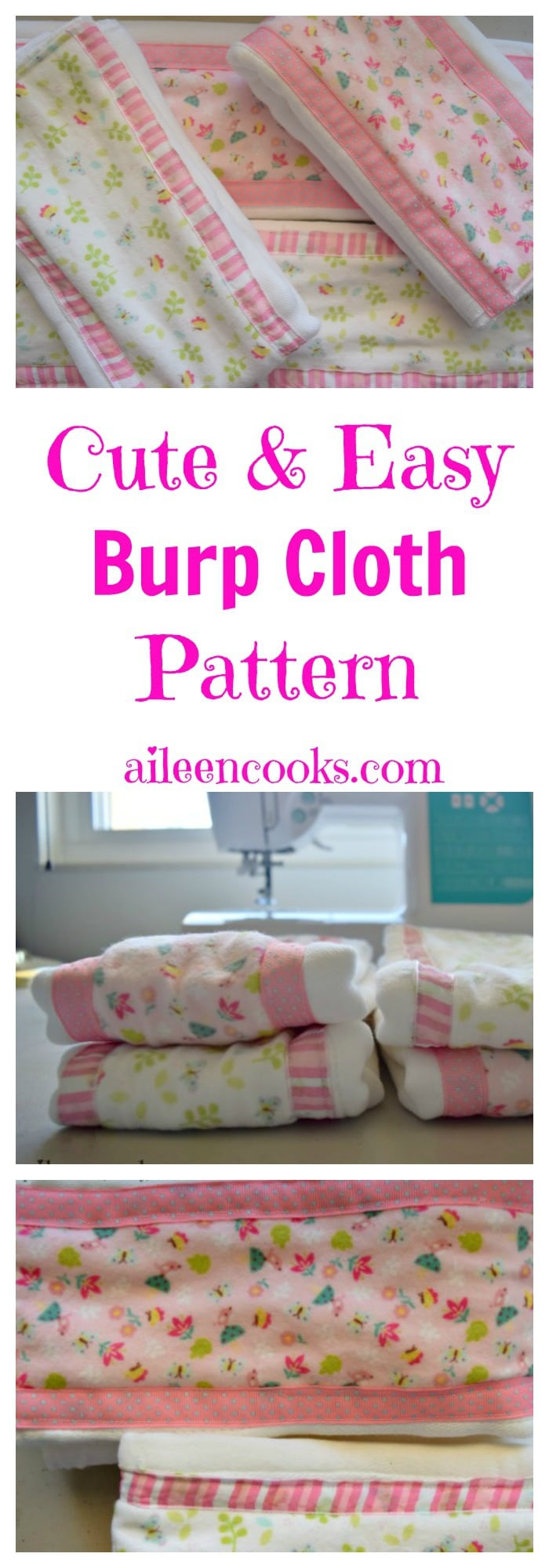 These are so cute and easy! DIY Burp Cloth Pattern and Tutorial using cloth diapers, flannel fabric, and ribbon. Burp Rag Pattern from aileencooks.com.