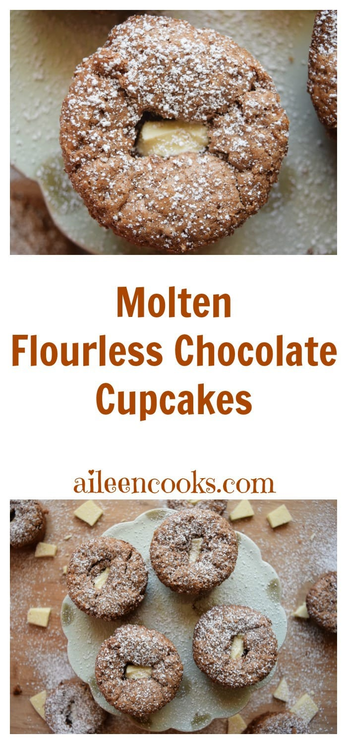 Molten Flourless Chocolate Cupcakes with a white chocolate molten center. Recipe from aileencooks.com.