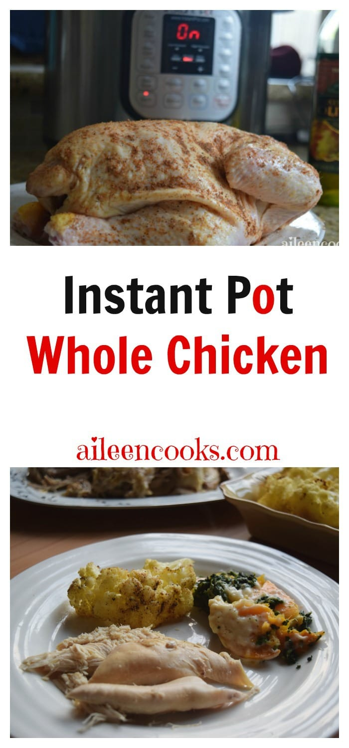 Cook a whole chicken in the instant pot electric pressure cooker in under 1 hour. Instant Pot Whole chicken recipe from aileencooks.com.
