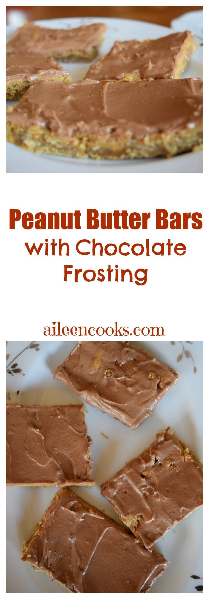 Peanut Butter Bars with Chocolate Frosting made with a chewy peanut butter cookie base, natural peanut butter, and creamy chocolate frosting. You even get to sneak some whole grains into your kid's diet with this recipe! Recipe for Peanut Butter Bars with Chocolate Frosting from aileencooks.com