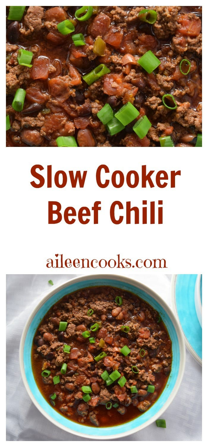 Slow Cooker Beef Chili. Crockpot Chili Recipe. Healthy Crockpot Recipe. recipe from aileencooks.com #IC #AD #SWBeans
