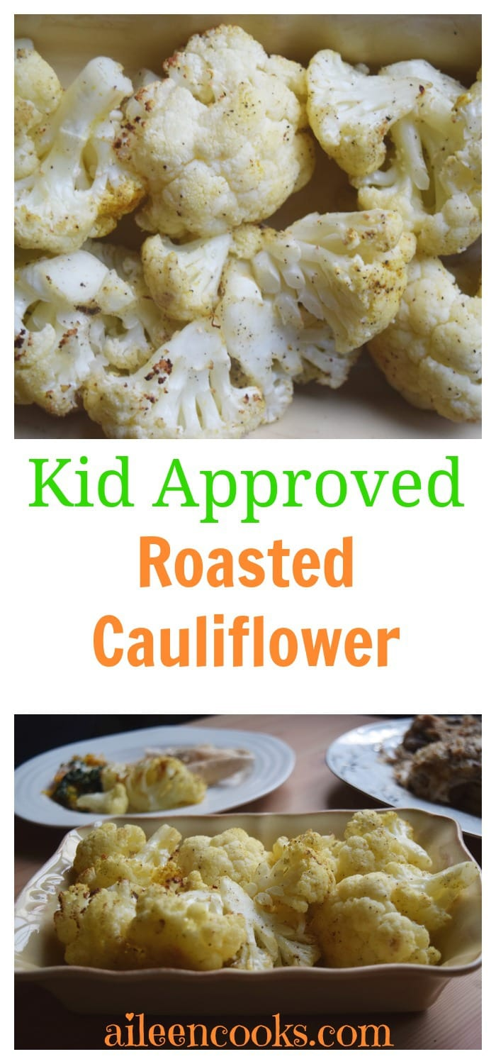 Make this kid friendly vegetable dish tonight! Recipe for Spiced Roasted Cauliflower from aileencooks.com.
