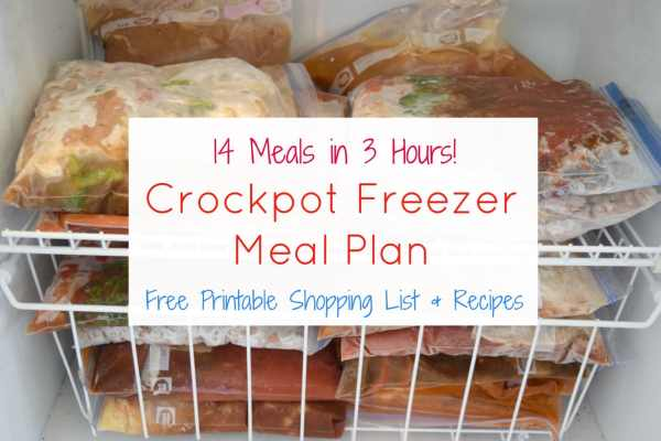 Make 14 crockpot freezer meals in 3 hours with this crockpot freezer meal plan from aileencooks.com that includes a printable shopping list and recipes.
