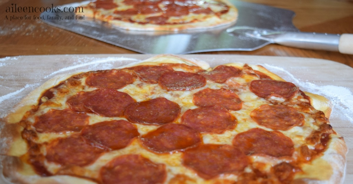 Quick and easy homemade pizza dough. Whip up a batch of pizza dough with just a few simple ingredients in under 30 minutes. No rise time needed! This recipes makes 2 thin crust medium pizzas or 1 thick crust large pizza.