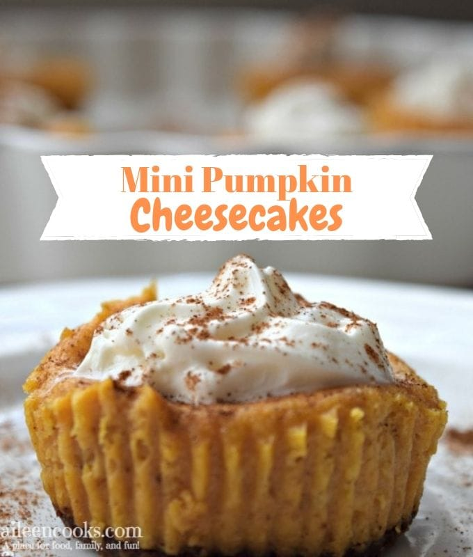 Mini Pumpkin Cheesecakes are cheesecake in cupcake form. They are sweet and creamy - the perfect fall dessert. Serve them plain or topped with whipped cream for an extra special treat.