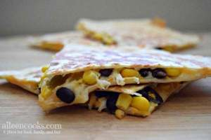 black bean and corn quesadillas are a frugal and fast way to whip up a healthy dinner for your family. This vegetarian dinner is great for meatless monday, too!