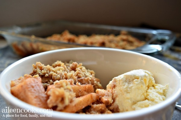 Tender and flavorful cinnamon apple crisp. The perfect apple dessert for fall!