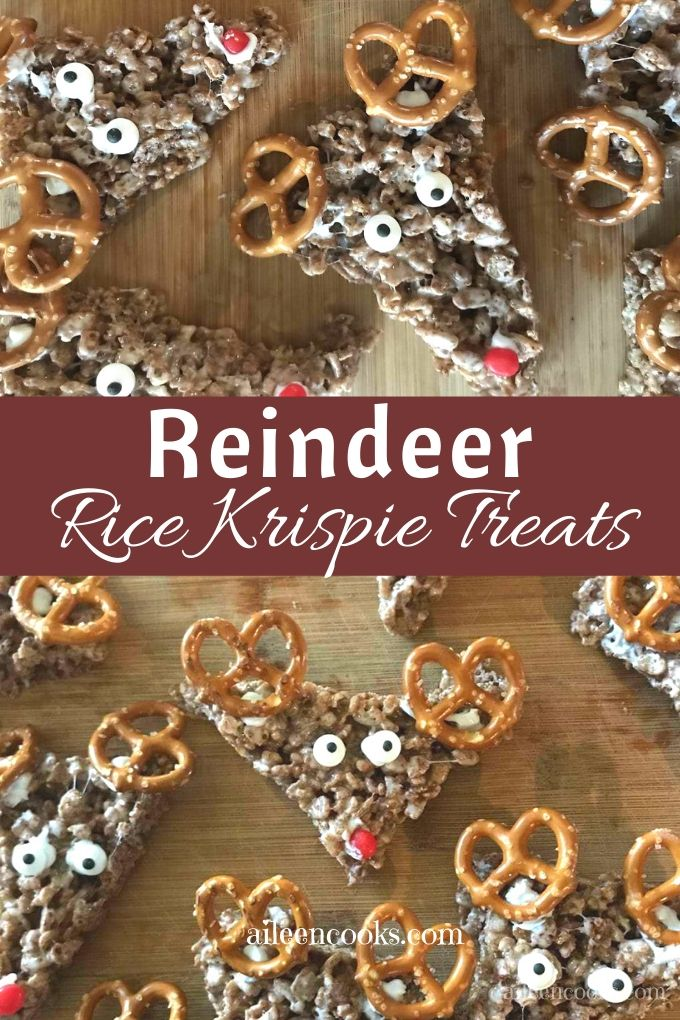 Make a batch of these adorable Christmas Rice Krispies Treats! They are decorated like reindeer with pretzels, candy eyes, and fun red noses - just like Rudolph!