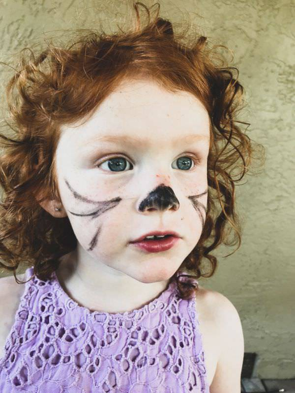 Little girl with cat face paint