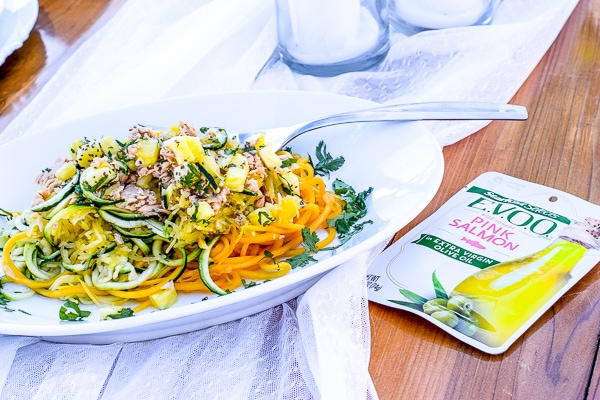 Pineapple and Tri-Colored Raw Noodle Salad with StarKist Selects EVOO Wild Caught Pink Salmon