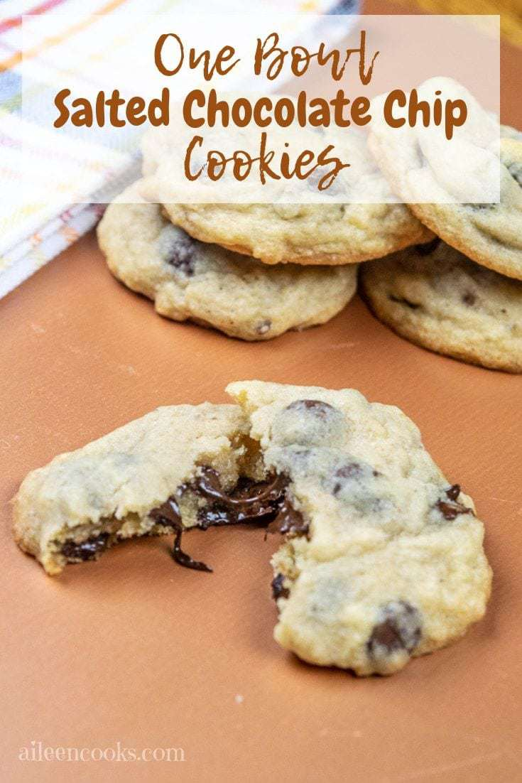 Whip up a batch of these salted chocolate chip cookies for your next family dinner or party! They are chewy and perfectly sweet with a nice salty accent.