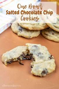 Whip up a batch of these delicious salted chocolate chip cookies with two different types of chocolate. The best part? You only have to dirty one bowl to make these cookies!