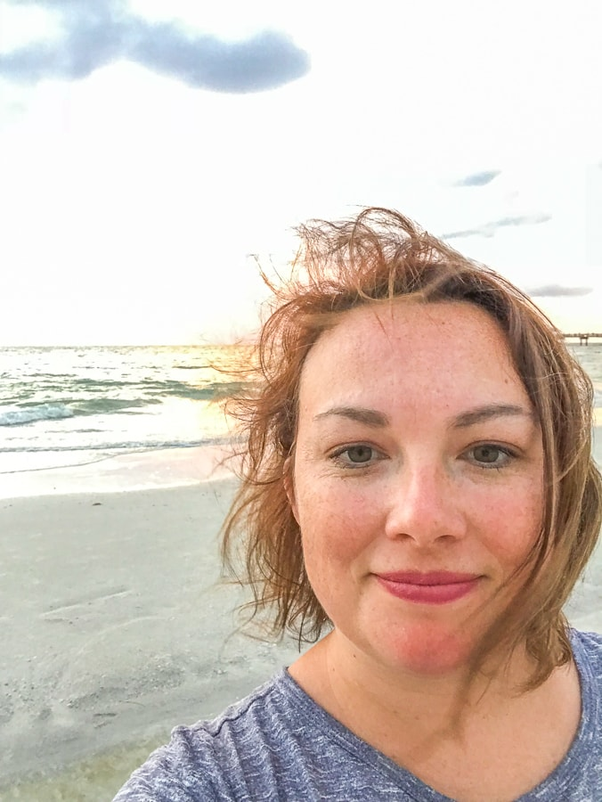 A selfie at sunset on the beach.