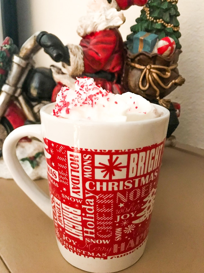 A mug full of homemade peppermint hot chocolate and topped with whipped cream and crushed peppermint candies.