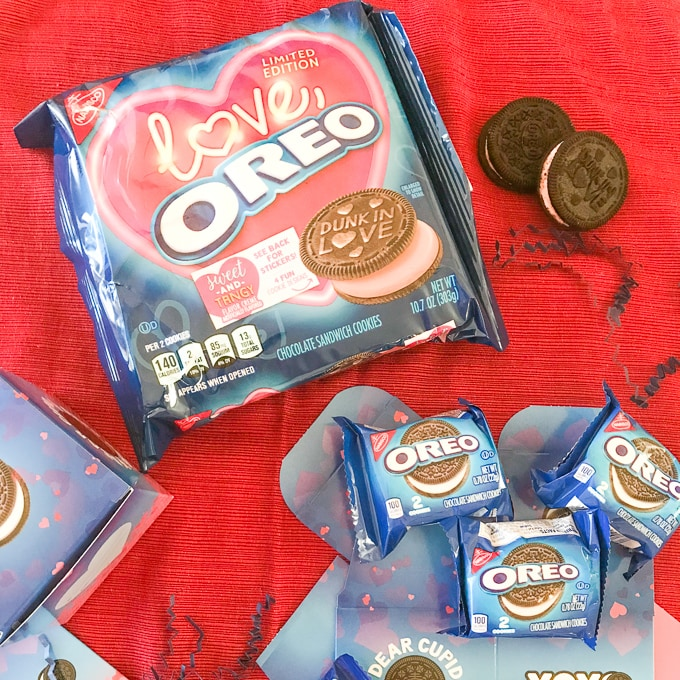 A table filled with an OREO Valentine's Day Exchange Kit.