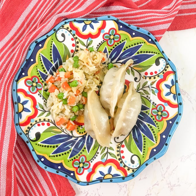 A colorful plate filled with three pot stickers and vegetable fried rice.