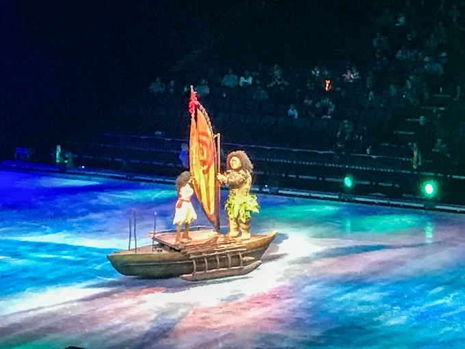 Moana and Maui on a boat in the Disney on Ice Dare to Dream show.