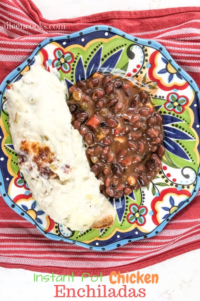 Whip up a batch of these creamy Instant Pot chicken enchiladas. They are easy to make with a homemade white sauce.