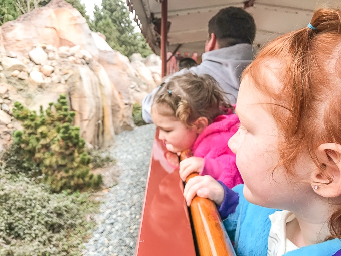 Two little girls peeking their heads out the window on the train in Disneyland during Winter.