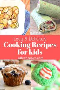 4 photos of cooking recipes for kids including turkey cream cheese roll-ups and parmesan zucchini rounds.