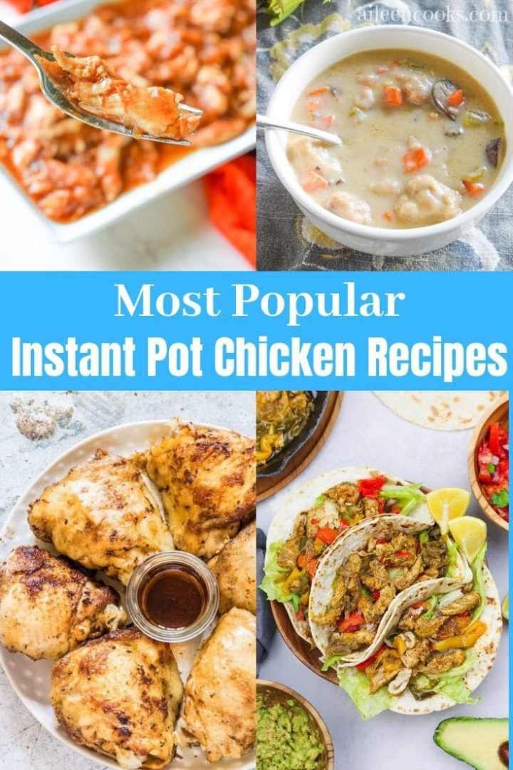 A collage of four popular instant pot chicken recipes including instant pot chicken and dumplings