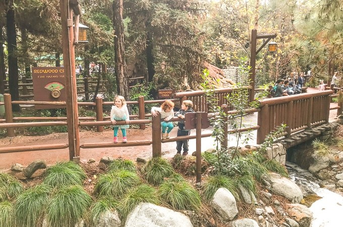 Three kids climbing on a fence and surrounded by redwood trees at the Redwood Creek Challenge Trail in Disney California Adventure.