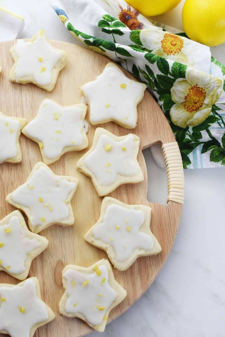 Star shaped shortbread cookies with lemon icing.