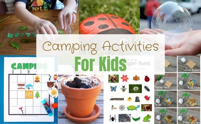 Collage image of camping activities for kids.