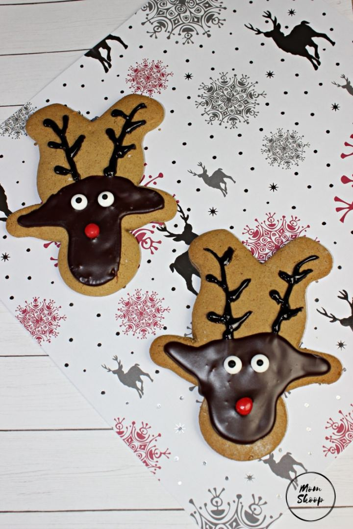 Adorable reindeer cookies with painted on faces.