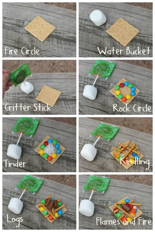 An 8 grid photo with step-by-step instructions of how to make a campfire out of candy and graham crackers.