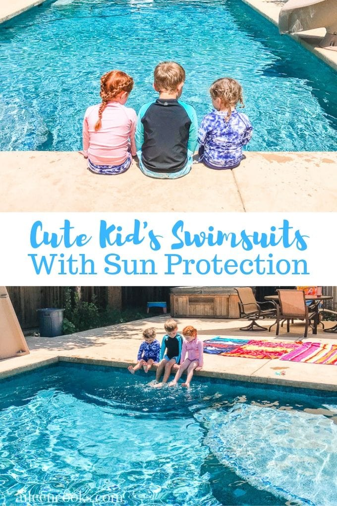 A collage photo of kids sitting next to a swimming pool in swimwear with sun protection.