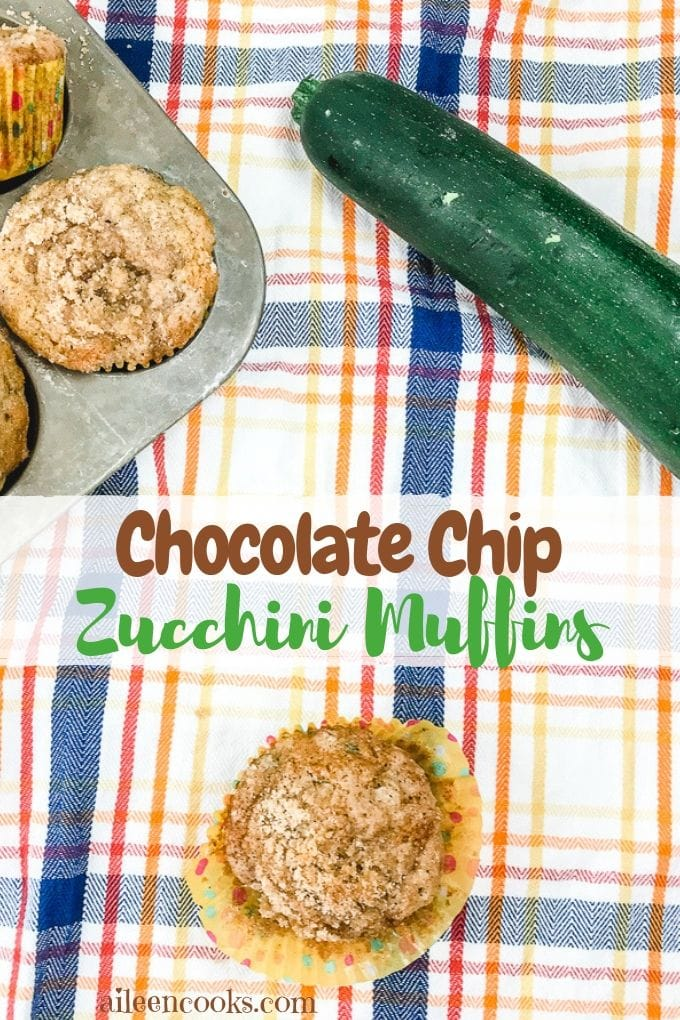 A collage photo of chocolate chip zucchini muffins next to fresh zucchini.