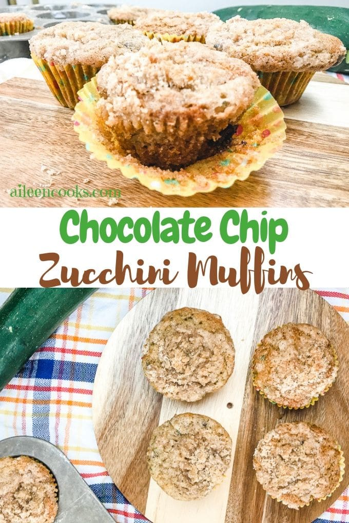 Are you tired of the same boring zucchini bread? Make something better with these chocolate chip zucchini muffins.They are a tender chocolate chip muffin with a cinnamon struesel topping. Plus, they don't taste like vegetables!