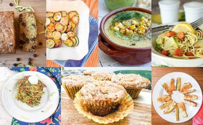 Collage photo of 7 zucchini recipes.